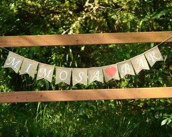 Mimosa Bar banner - bridal shower banner, burlap bridal shower garland sign