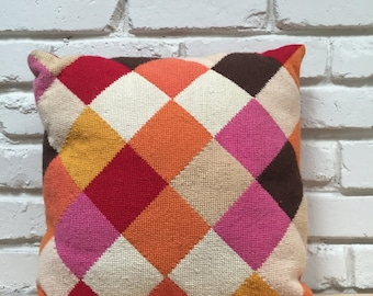 Needlepoint Harlequin Pillow