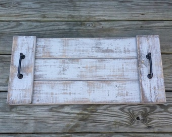 Distressed Rustic Wooden Serving Tray, Reclaimed Wooden Tray, Coffee Table Tray, Ottoman Tray, Beverage Tray, Wooden Serving Platter,
