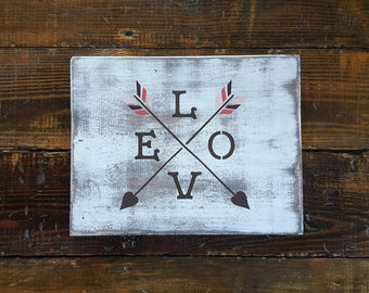 Hand Painted and Distressed Love Arrows Wooden Sign, Love Compass Sign,  Woodland Wedding Sign, Rustic Home Decor, Boho Baby Shower Decor