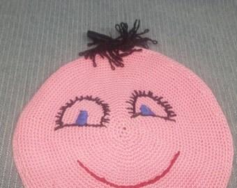 Handmade Pink Happy Face Pot Holder