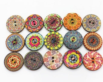 Bohemian Pattern Wood Button, Aztec Pattern, BOHO Chic Buttons, Tribal Button,Two Holes Sewing Button,Floral Button, Wooden Button