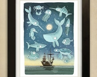 Ocean Constellations Illustration - Children's Art Print