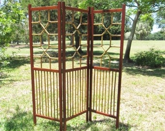 Folding screen, vintage tri-fold bamboo screen, Asian folding screen, Asian home decor, oriental room divider screen, oriental screen,