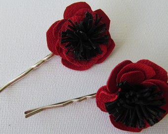 Red poppy bobby pins, red flower hair pins, poppy hair clips, red leather flowers, red hair accessories, pair of red bobby pins, red flowers