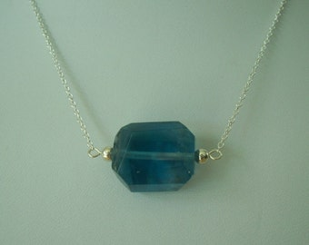 Natural Fluorite Focal Bead Sterling Silver Necklace