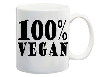 coffee mug, 100% vegan, funny, hashtag vegan, dishwasher safe