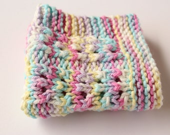 Easter Dishcloth, Lace Pastel Dishcloth, Cotton Knit Dishcloth, Lacey Kitchen Dishrag, Pink, Blue, Purple, Yellow, White Washcloth
