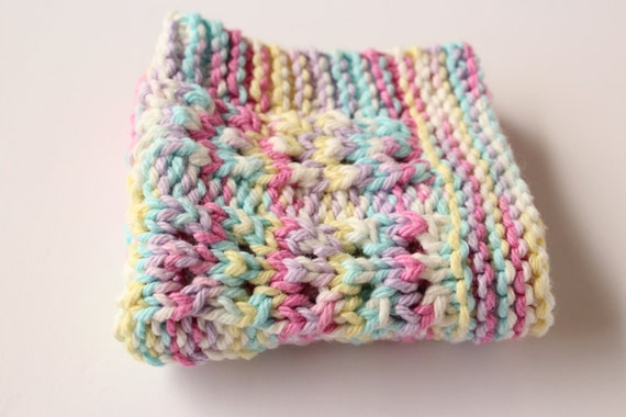 Knitted Dishcloth Patterns For Easter : Easter Dishcloth Lace Pastel Dishcloth Cotton Knit