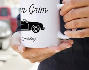 """Mister Grim: U.S. Made Coffee Mug With """"Mister Grim Goes On Holiday"""" Graphic"""