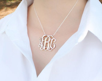 Cute monogram necklace-925 silver monogrammed necklace-custom monogram gift for bestfriend-any initials