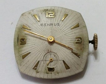 Vintage, Benrus, Wristwatch, Movement, Dial, Steampunk, Altered Art, Assemblage, Jewelry, Bead, Beading, Supply; working