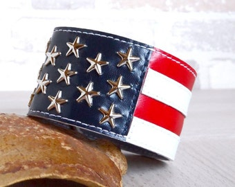 Genuine Leather Bracelet US Flag, Leather Wristband, Men Women Leather Cuff, American Flag,Leather Bangle.