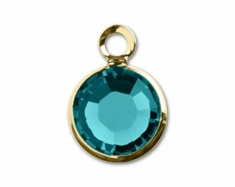 57700 BLUE ZIRCON 8pcs Swarovski Crystal Channel Drops Gold Plated One Loop - December Birthstone Charms