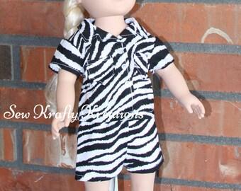 "Zebra Print Doll Pajamas for 18"" doll like American Girl"