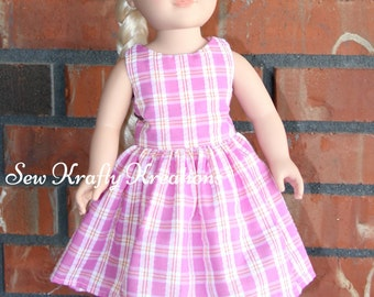 "Pink Plaid Doll Dress for 18"" doll like American Girl"
