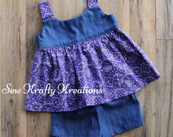 Girl's 2 Piece Set - Denim and Purple Bandanna Print with Denim Cotton Shorts