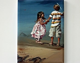 Tiny Canvas | Little Sister | Child Art | Canvas Print | Wall Art | Beach Art | Small Art Print | Present | Collectible Art | Miniature Art