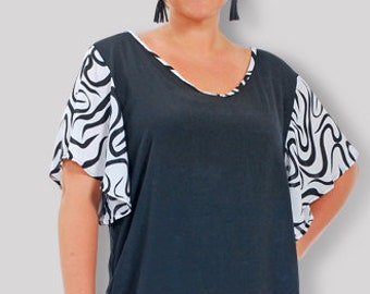 Women's Tunic Plus Size Top Deisgned for Plus Size Clothing and for the Full Figure 3X Woman, One Plus Size - 30/32