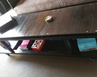Industrial/modern solid reclaimed wood tv unit/coffee table