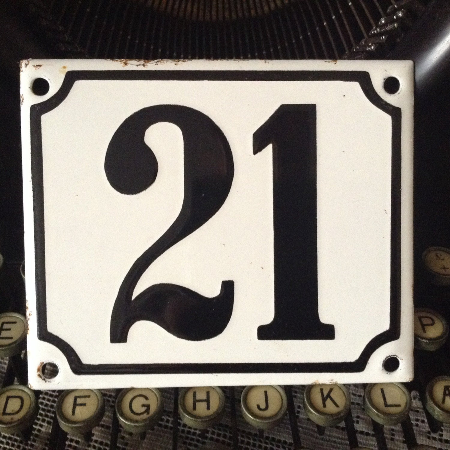 Vintage House Number 21 outdoor enamel plaque white with