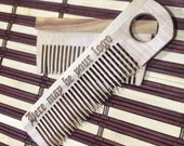 Personalized Wooden  Comb, Gift for dad, Gift for him, wooden hair comb, hair com, beard comb, moustache comb, for men, for him.
