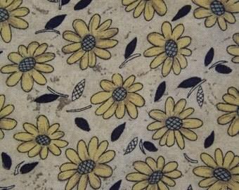 Rayon Challis Spring Scarf, Tan, Navy & Yellow Daisy Shawl, Large Square Wrap, Soft Challis Scarf, Feminine, Spring Summer Shawl or Scarf