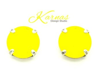 YELLOW OPAL 12mm Crystal Stud Earrings Spring/Summer 2017 Rivoli Swarovski Elements *Pick Your Finish *Karnas Design Studio *Free Shipping