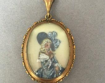 Vintage Hand Painted Crinoline Lady Photo Locket Pendant