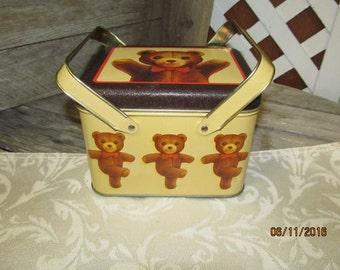 Vintage Dancing Teddy Bear Picnic Basket Tin Can Canister Kitchen Living room Decor