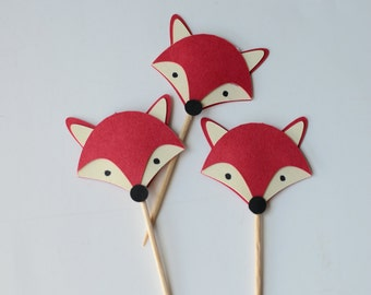 12 Fox Toothpick Cupcake Toppers