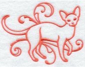 PAIR hand towels - Devon Rex Cat - EMBROIDERED 15 x 25 inch for kitchen or bath