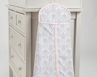 Carousel Designs Lilac and Silver Gray Damask Diaper Stacker