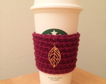 Burgundy Crochet/Knit Coffee Sleeve/Cozy with Fall Theme Metal Leaf