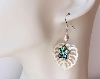 Abalone Plumeria Leaf Earrings, Abalone Frangipani Leaf Earrings, Hawaiian Plumeria Leaf Earrings, Hawaiian Wedding Earrings