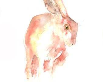 Hare #3.  Signed and mounted archival print of my own watercolour.
