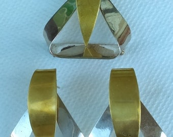 Taxco, Mexico Sterling/925 modernist two tones set pin/brooch & earrings