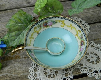 Vintage Hand Painted Noritake 3 Footed Bowl with Ladle