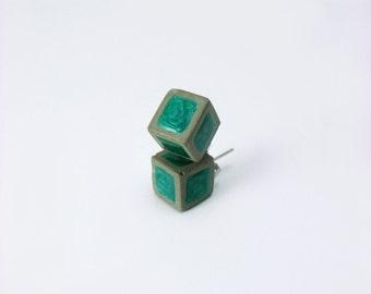Small earrings are cement. Pending bucket. Geometric earrings.