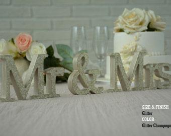 Glitter Champagne Mr & Mrs Wedding Signs, Mr and Mrs Wood Wedding Decoration