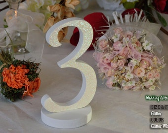 Table Numbers, Wooden Table Numbers, Glitter Table Numbers, 1-20 DIY