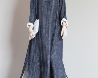 Women Long Sleeve Cotton Dress Gown