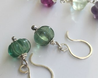 Fluorite earrings, mint fluorite earrings, Fluorite and sterling silver earrings
