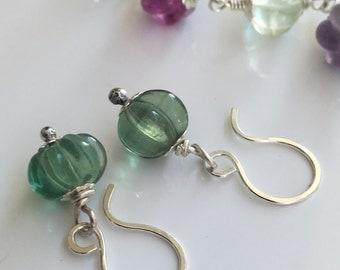 Fluorite earrings, Fluorite and sterling silver earrings
