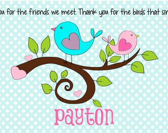 Personalized Placemat - Kids Placemat - Childrens Placemat - Godchild Gift - Laminated Placemat - Baptism Gift - Sweet Birdies