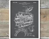Jet Engine Patent Print, Frank Whittle Jet Engine Patent Wall Art Poster, Turbojet Engine Invention, Aircraft Engine Design, P270