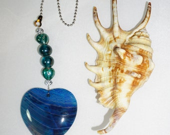 Glass and Agate,  Ceiling Fan Pull,  Blue Heart Agate,  Blue Fan Pull,  Blue Agate Fan Pull,  Light Pull,  Unique Gifts,  Agate Pendant