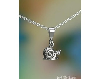 """Sterling Silver Tiny Snail Necklace with 16-24"""" Chain or Pendant Only"""