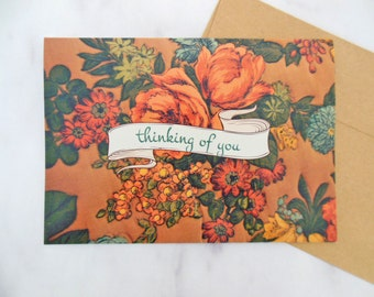 fleurs jaunes card | ink embossed 5x7 greeting card | thinking of you, sympathy, all occasion | ochre, mustard yellow