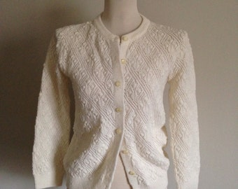 Vintage 1960s 60s 60's women's fall off white creme textured knot wool Mad Men secretary cardigan sweater - S M small medium - 34 bust